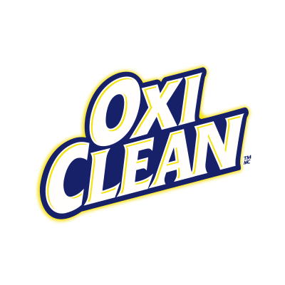 More information about OxiClean. OxiClean logo.